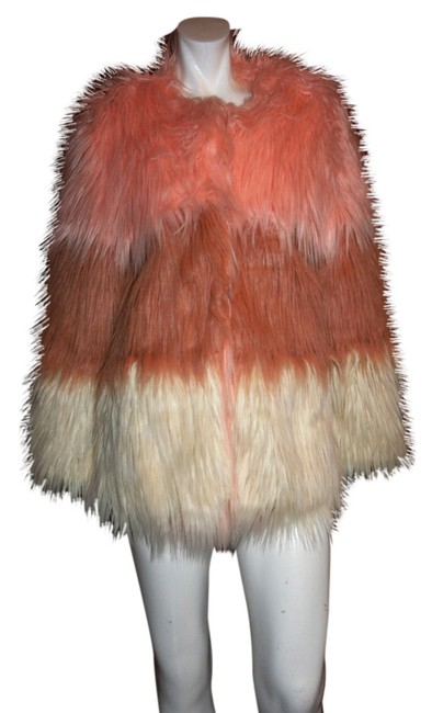 Item - Pink/Gray/White XS Story-of-lola-london-women-faux-fur-coat-size-xs-s Coat Size 2 (XS)