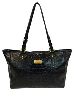 Brahmin Melbourne Arno Crocodile Embosssed Leather Tote in Black