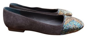 Adrianna Papell Ballerina Suede Dark Brown Multi-Colored Sequins Flats
