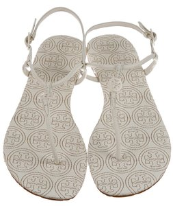 Tory Burch Miller Reva Logo Ankle Strap Gold Hardware Ivory, White Sandals