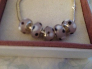 Bella & Chloe SET OF 5 ~~European Style Murano Lampwork Glass Beads, 4mm hole, So Pretty in Pink with White & black Polka Dots!