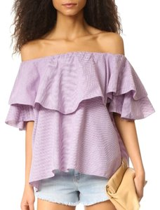 MLM Off The Off Gingham Ruffles Check Top Berry/White