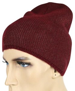 Gucci New Gucci Burgundy Wool Cashmere Knit Beanie Hat w/Logo L 352350 6079