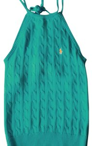 Ralph Lauren Polo Knit Halter Sweater Size Med Teal Halter Top