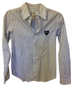 COMME des GARONS Play Button Down Shirt White and blue stripe