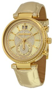 Michael Kors MK2444 Sawyer Champagne Dial Leather Strap Chrono Women's Watch