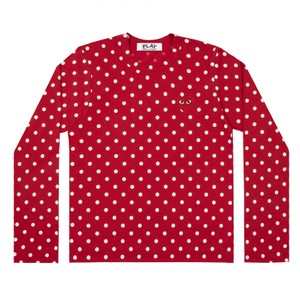 COMME des GARONS Cdg Play Garcon T Shirt Red with white dots