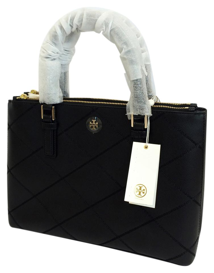 dd917b3b680e Tory Burch Robinson Stitched Mini Double- Zip Tote Black Saffiano Leather  Satchel