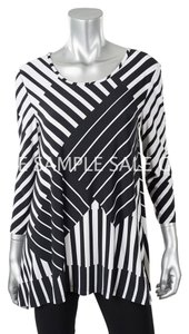 Joseph Ribkoff Stripes Stretchy Tunic Top black/white