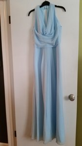 David's Bridal Oasis (Teal/Sky Blue) Long Chiffon Dress With Front Cowl Neckline Dress