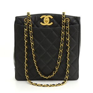 Chanel Vintage Caviar Quilted Gold Shoulder Bag