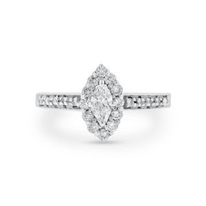 0.75 CT Natural Diamond Halo Marquise Engagement Ring In Solid 14k
