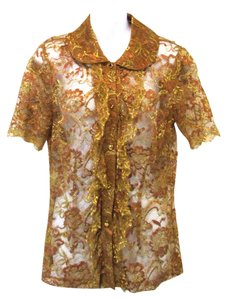 Trina Turk Lace Button Down Shirt Gold