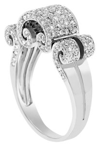 0.92 CT Natural Diamond All Over Curled Elegant Ring In Solid 18k