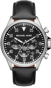 Michael Kors Gage Chronograph Black Dial Black Leather Men's Watch MK8442
