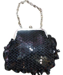 Bill Blass Lace Sequin Black Clutch