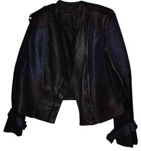 BCBGMAXAZRIA Black and Blue Leather Jacket
