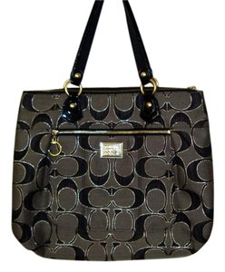 Coach Poppy Tote in Black/gray/gold