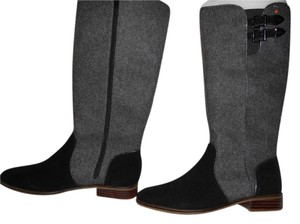 C. Petula Sophisticated Design Handsome Made In Italy Grey/Black Boots