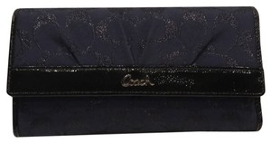 Coach Navy Black Gunmetal Coach Wallet with Checkbook Holder