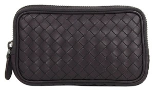 Bottega Veneta Brown Purple Woven Leather Smartphone Case Coin Purse 325156 6017