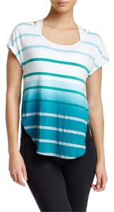 Pink Lotus Yoga Fitness Striped Activewear T Shirt Peacock Blue
