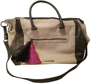 Steve Madden Tassels Faux Leather Satchel in Multi (Light tan and gray)