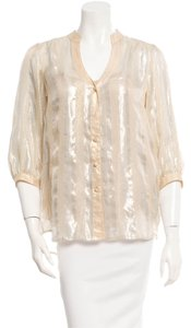 Diane von Furstenberg 55% Silk Top Gold-tone and beige