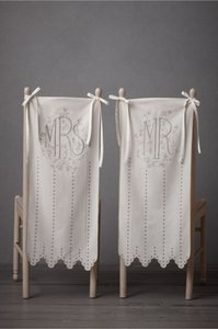 BHLDN Ivory Mr & Mrs Chair Signs For Tableware