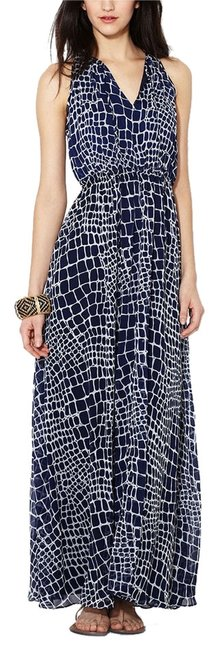 Navy Blue & White Maxi Dress by The Letter Chiffon Graphic Print