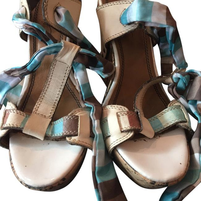 Item - White Tan and Blue Wedges Size US 8.5 Regular (M, B)