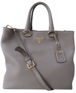 Prada Leather Vitello Daino Tote in Gray