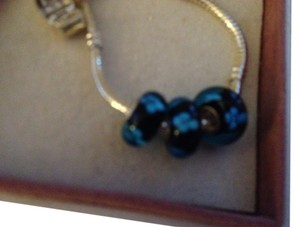 Bella & Chloe SET OF 3 ~~European Style Murano Lampwork Glass Beads, 4mm hole, A Beautiful Black Blue Flowers!