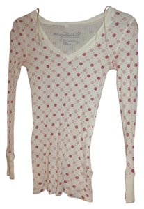 Aéropostale Thermal Transparent Longsleeve Top White with Red and Pink Snowflake Design