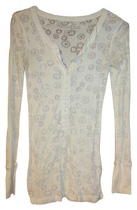 Aéropostale Thermal Floral Snowflake Transparent Top White