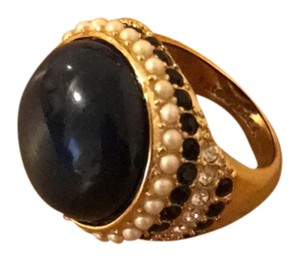 Kate Spade navy and gold ring with crystals
