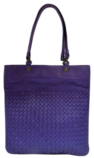 Bottega Veneta Shoulder Woven Leather Tote in Purple