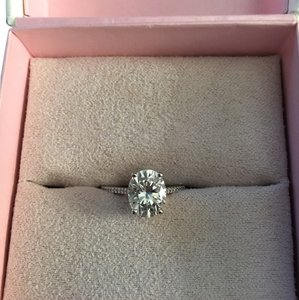 White gold oval moissanite and diamonds cathedral ring Blake