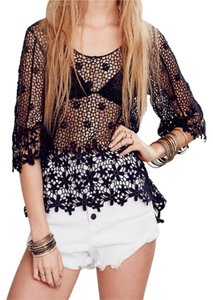 Free People Rayon Crochet Flower Top Charcoal