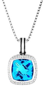 David Yurman Albion Pendant Enhancer with Blue Topaz and Diamonds, 14mm