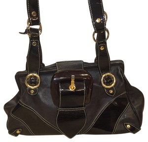 Dolce&Gabbana Leather Patent Leather Tortoise Shell Buckle Shoulder Bag