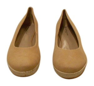 Jacques Levine White Cork Camel Wedges