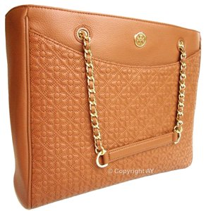 Tory Burch Braided Chain Strap E/w Tote in Luggage (Tan Brown)