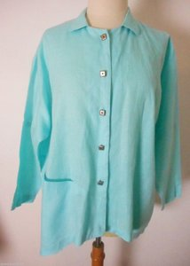 Itemz Linen Button Front Oversized Top Seafoam Green