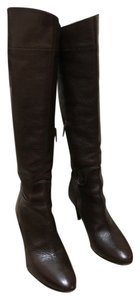 Burberry Muncy 85 Riding Italian Leather Chocolate Boots
