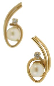 Antique Tear Drop Pearl And Diamond Stud Earrings- 10k Yellow Gold