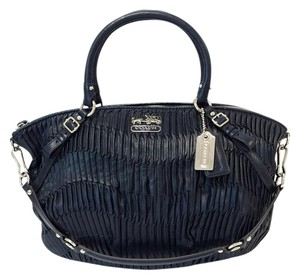 Coach Madison Gathered Leather Lindsey Satchel in Navy Blue