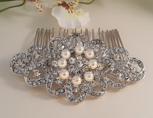 Gorgeous Bridal White Pearl Silver Hair Comb