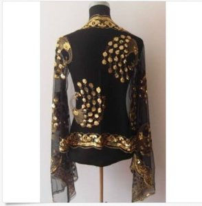 Black/Gold Black & Gold Sequin Peacock Wrap/shawl/scarf Free Shipping Dress