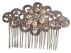 Brilliant Silver Plated Faux White Pearl Hair Comb